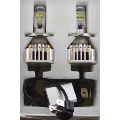 Комплект светодиодных ламп в основные фонари под цоколь Н4 30W 3000 Люмен/ Лампа