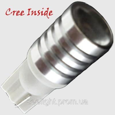 Автомобильная светодиодная лампа на базе цоколя T10 CREE (Lens) 3W 9-30V-NW