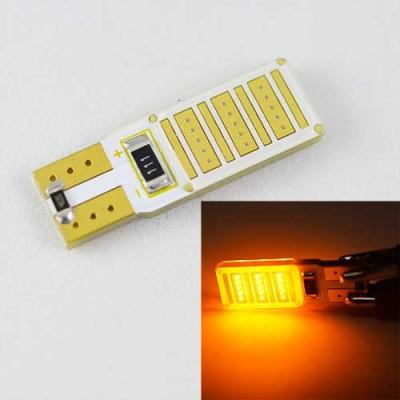 Светодиодная автомобильная лампа SL LED Цоколь T10 (W5W) с обманкой компьютера 12С COB 3W Желтый