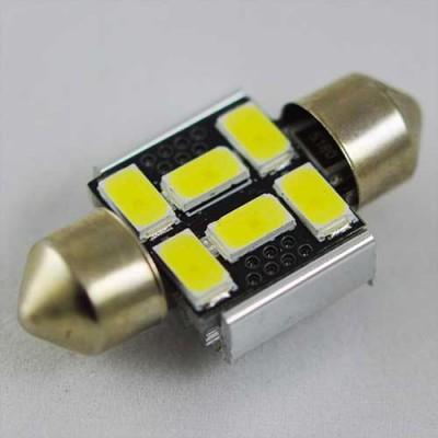 Светодиодная лампа SLS LED с обманкой компьютера под цоколь SV8,5(C5W) 36mm 6-5630 Белый