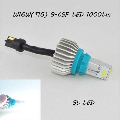 SLP LED светодиодная лампа в задний ход, цоколь T15(W16W) 9 CSP led, 1000 Люмен 9-30 В. 6500К