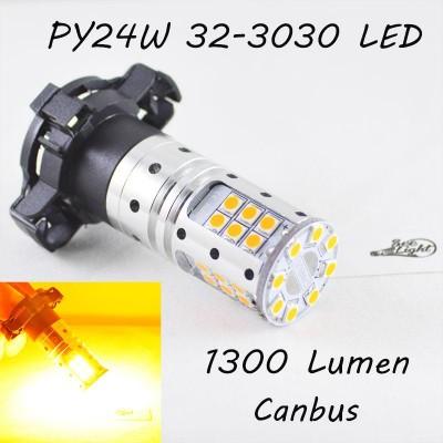 Светодиодная лампа SLP LED с цоколем PY24W 9-30V 32-3030 Желтый в поворот с обманкой
