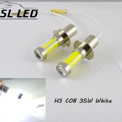 Светодиодная лампа в ПТФ, SLP LED под цоколь H3 светодиоды типа COB 35W 9-30 В. Белый