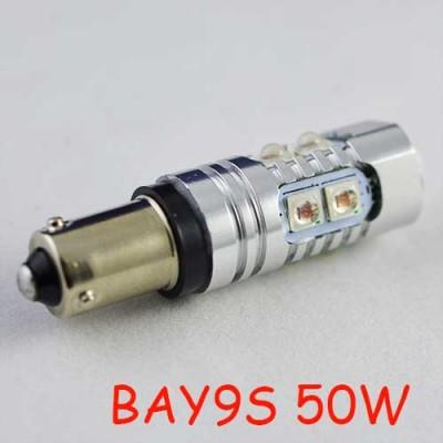 Мощная светодиодная лампа SLP LED с цоколем BAY9S (H21W) Epistar 50W 9-30V Красный