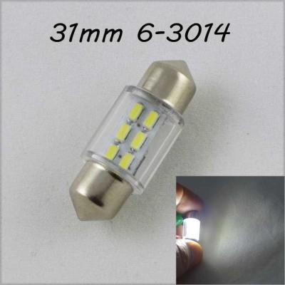Светодиодная лампа в подсветку салона, номеров цоколь SV8,5(C5W) 31mm 3014 6 LED Белый