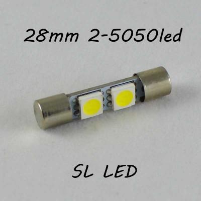 Led лампа SLP LED в солнцезащитные козырьки, зеркала SV7 (T6.3) (C5W)(C3W) 2-5050 28/29mm 12V Белый