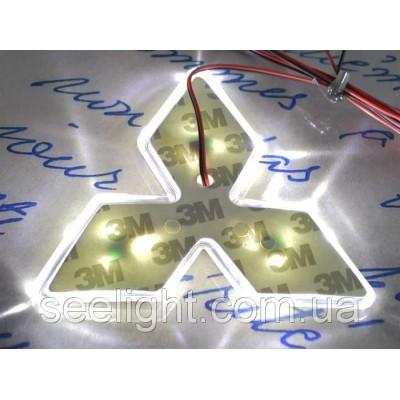 Автомобильный логотип Mitsubishi 10.2*10.2*10.2 см. светящаяся подкладка, белый
