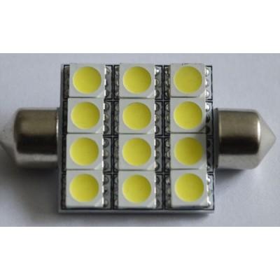 Светодиодная автомобильная лампа в подсветку салона автомобиля SV8,5(C5W)-39-42mm-5050-12 Белый