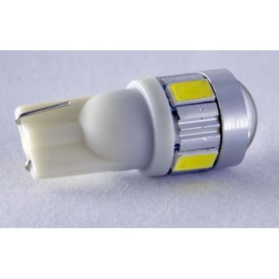 Светодиодная лампа в габарит под цоколь W5W(T10) светодиоды 5630+ Cree 3W с линзой, Белый