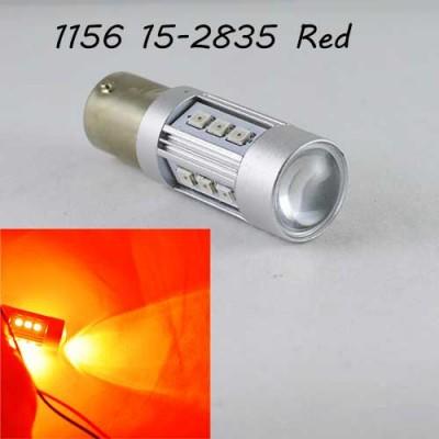 Светодиодная автомобильная лампа SLP LED с цоколем 1156(P21W)(BA15S) 15-2835 9-30V Красный