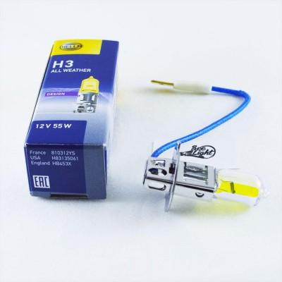Галогенная автолампа Hella H3/ PK22S 12V 55W Yellow 8GH002090481