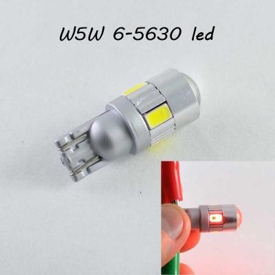 Светодиодная лампа в повторитель стопа, задний габарит, цоколь T10(W5W) 6-5630 9-30V Красный Линза