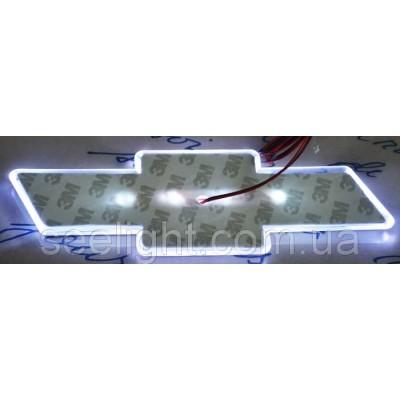 Автомобильный логотип Chevrolet 17.0*5.5 см. светящаяся подкладка, белый