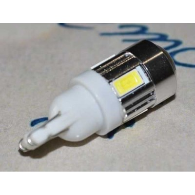 Светодиодная лампа в габарит с цоколем T10(W5W) 6- 5630 9-16V Холодный белый
