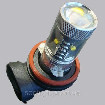 Светодиодная лампа на базе цоколя H11 Cree led 30W 9-30В. Белый