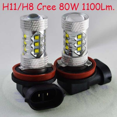 Светодиодная лампа  в ПТФ SLP LED с цоколем Н11/H8/H9 Cree 80W 9-30V 1100 Люменов 6000К