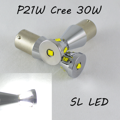 Автомобильная лампа SLP LED в задний ход автомобиля с цоколем 1156(P21W) Cree XBD +XTE 30W 10-30V Белый